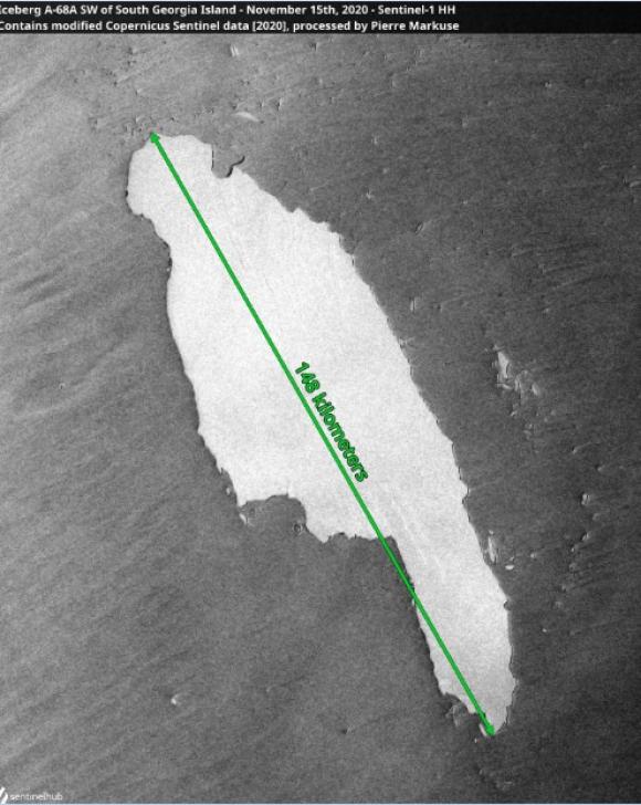Iceberg que se dirige a isla Georgia del Sur. Foto: Reuters