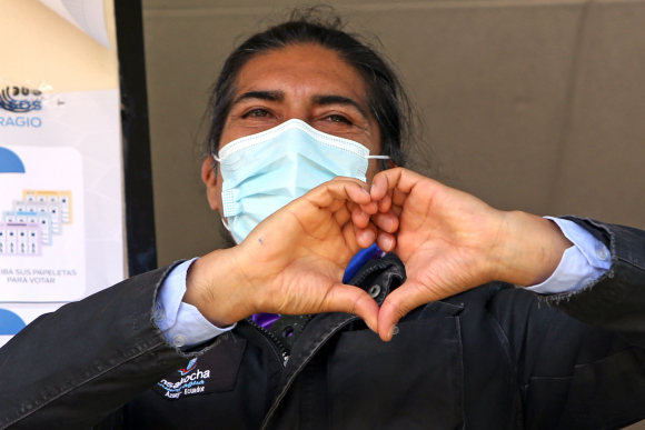 Yaku Pérez, candidato presidencial en Ecuador. Foto: AFP.