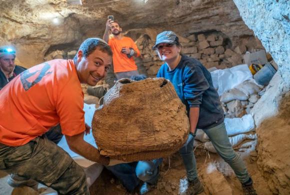 La cesta encontrada; se estima que es la más antigua del mundo, de más de 10.000 años. Foto: AFP
