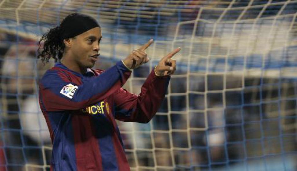 Ronaldinho en Barcelona. Foto: AFP