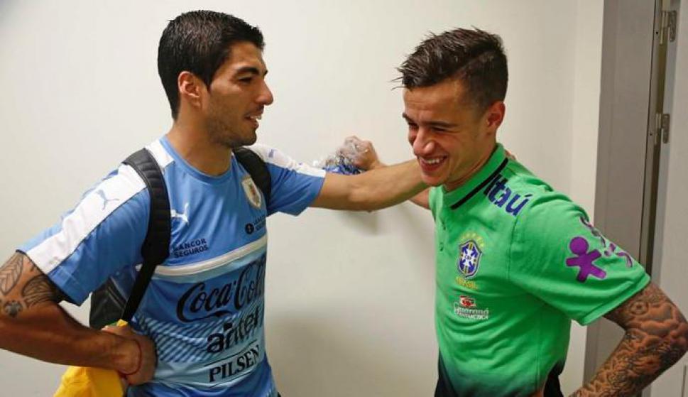 Philippe Coutinho y Luis Suárez. Foto: CBF.