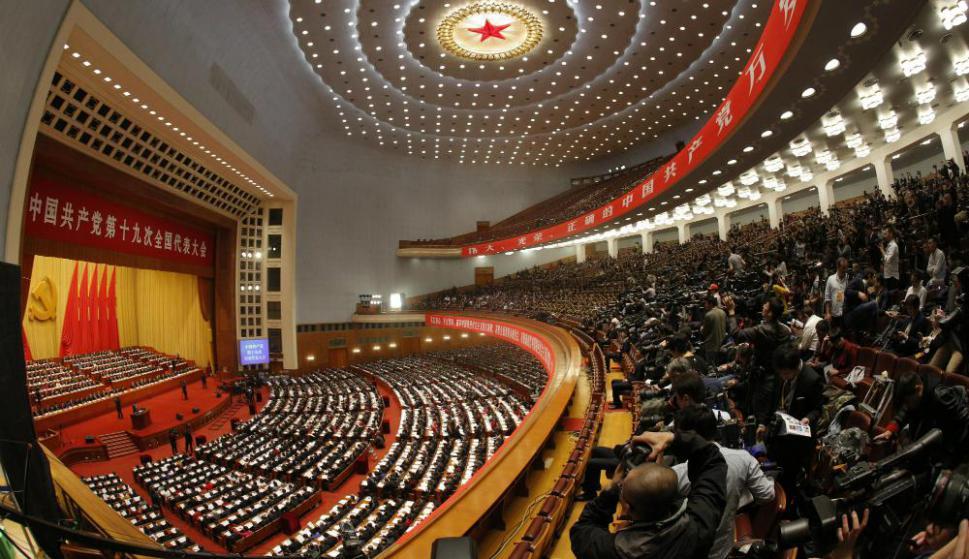 El Congreso del Partido Comunista sesiona en el Gran Salón del Pueblo. Foto: EFE