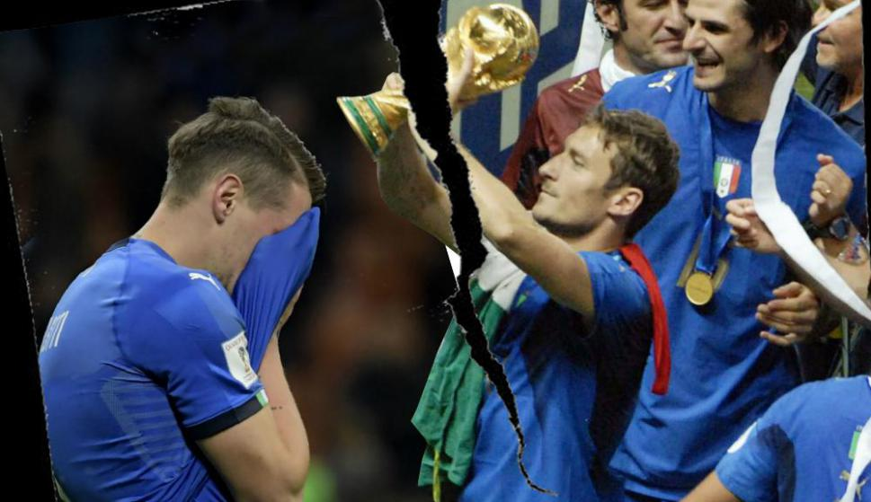 Dos caras. El festejo por el título mundial en 2006 dejó su lugar a la enorme frustración de las eliminatorias para Rusia 2018. Monteje: El País
