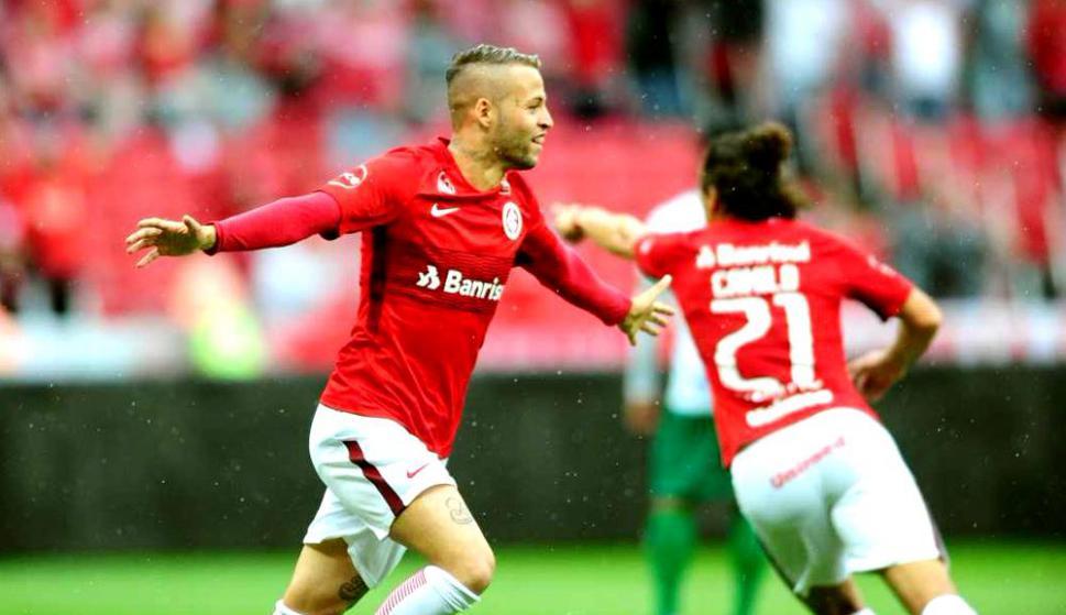 El festejo de Nicolás López en el Inter de Porto Alegre. Foto: @SCInternacional