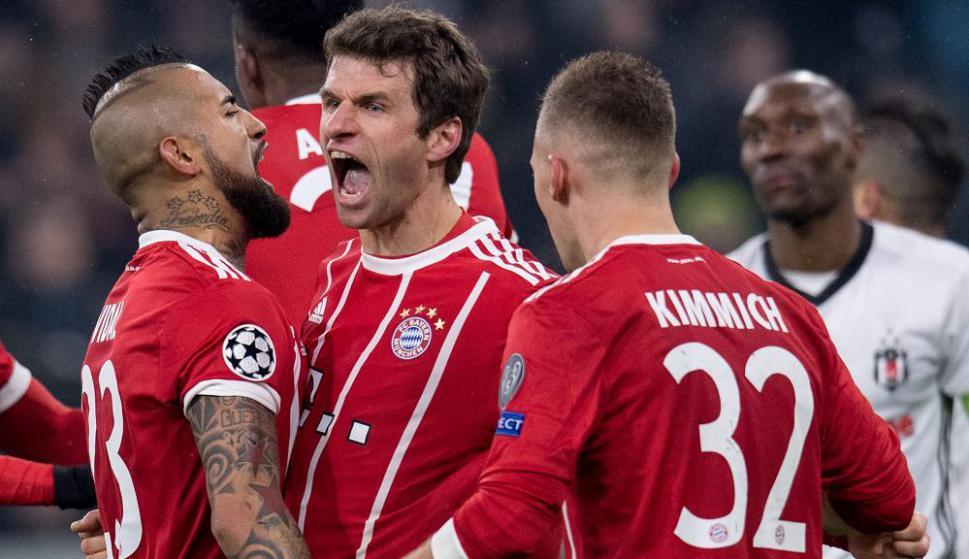 El grito de Muller. Bayern festeja el gol, Foto: AFP