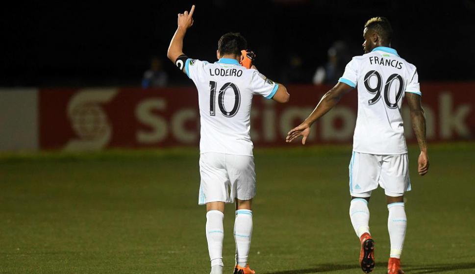 Nicolás Lodeiro festejando el gol del Seattle Sounders. Foto: AFP