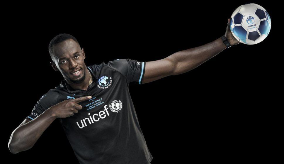 Usain Bolt promocionando un partido a beneficio. Foto: @usainbolt