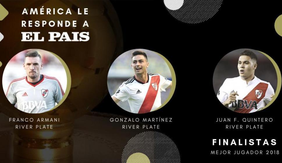 Quintero, Martínez y Armani, los finalistas de la Encuesta El País 2018