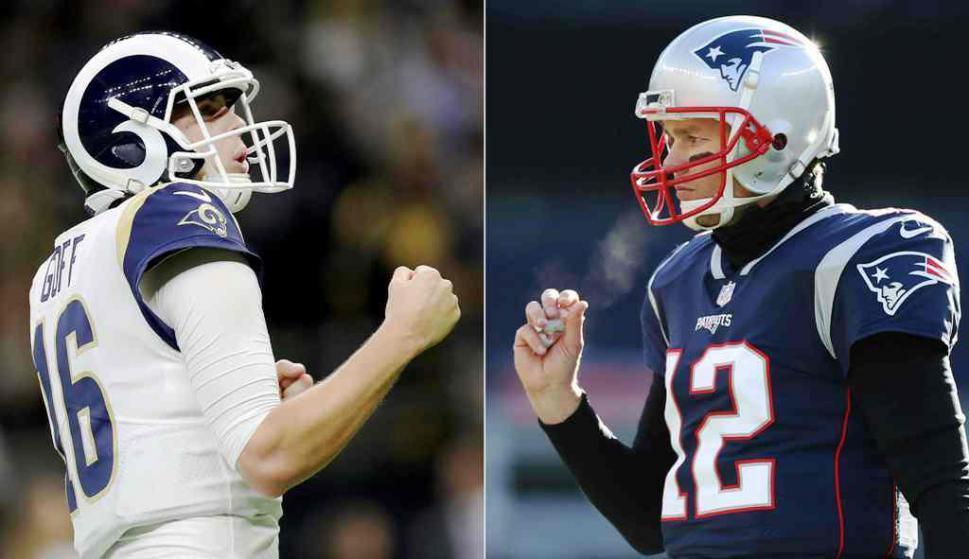 Jared Goff y Tom Brady, los mariscales de campo del Superbowl LIII. Foto: AFP