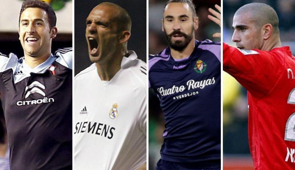 López, Bravo, Fernández y Arnada, los cuatro jugadores detenidos por arreglo de partidos. Fotos: Efe y Marca.