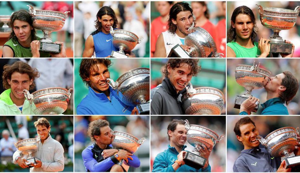 Los doce títulos de Rafa Nadal en Roland Garros