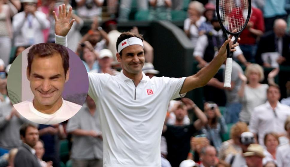 Federer a las risas en conferencia de prensa con un periodista italiano. Fotos: Captura y EFE