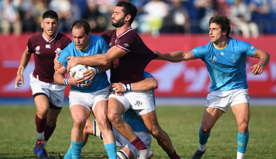 Juan Manuel Gaminara en el partido entre Uruguay y Georgia en Saitama. Foto: AFP-