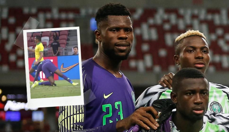 Francis Uzoho sufrió una grave lesión en el amistoso entre Nigeria y Brasil. Fotos: Captura y EFE