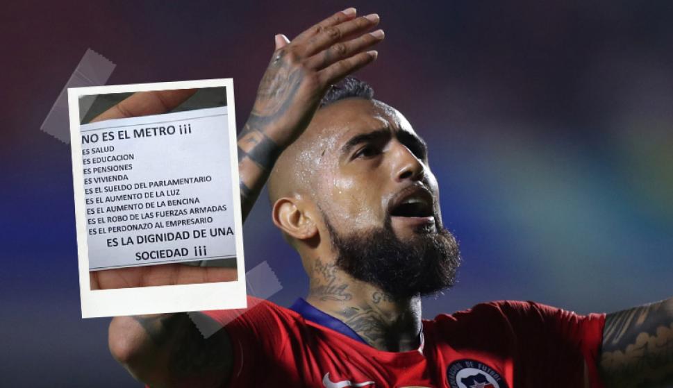 Los referentes de la selección de Chile se manifiestan ante la situación de su país. Foto: Archivo El País y @MedelPitbull