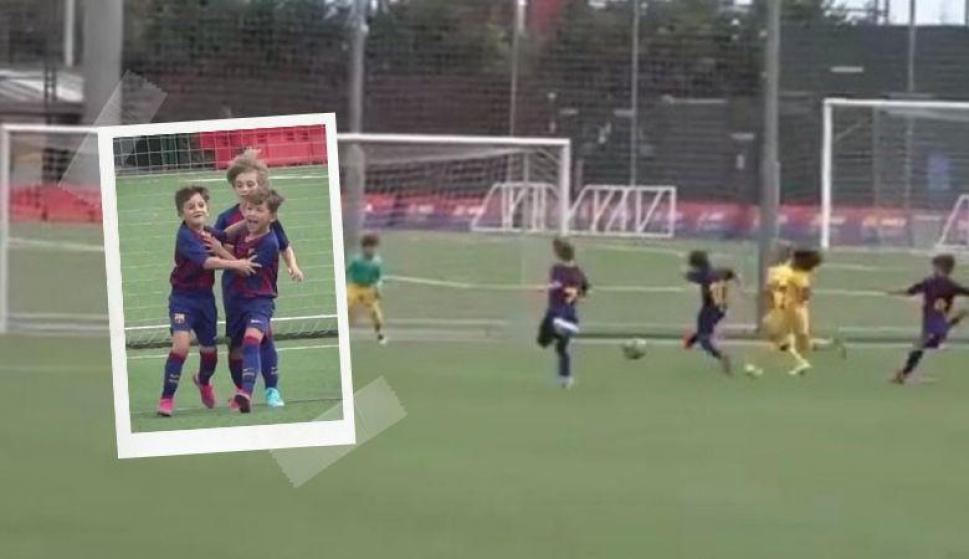 Thiago Messi hizo un gol con el equipo de la Escola del Barcelona y se volvió viral. Fotos: Captura