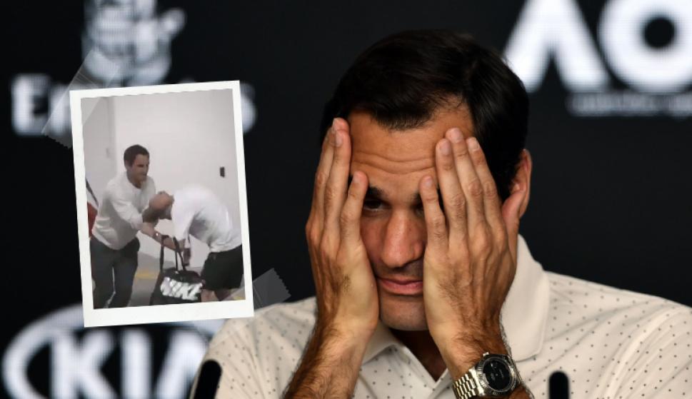 """Roger Federer en el Australian Open: jugó escondidas y """"atacó"""" a su fisioterapeuta. Fotos: Captura y AFP"""
