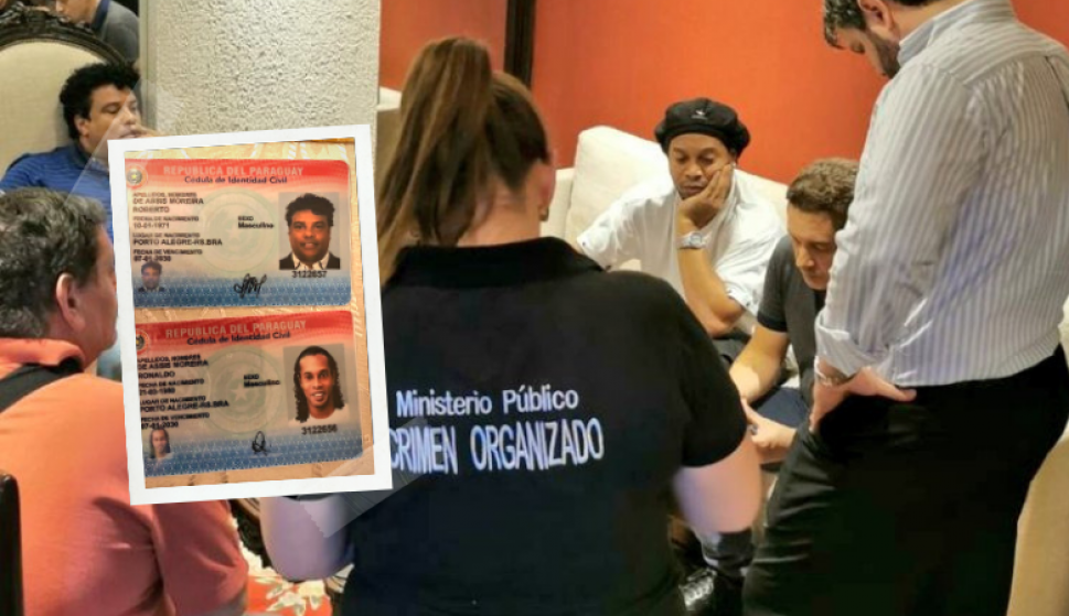 Así eran la cédula y pasaporte paraguayos de Ronaldinho. Fotos: @MinPublicoPy