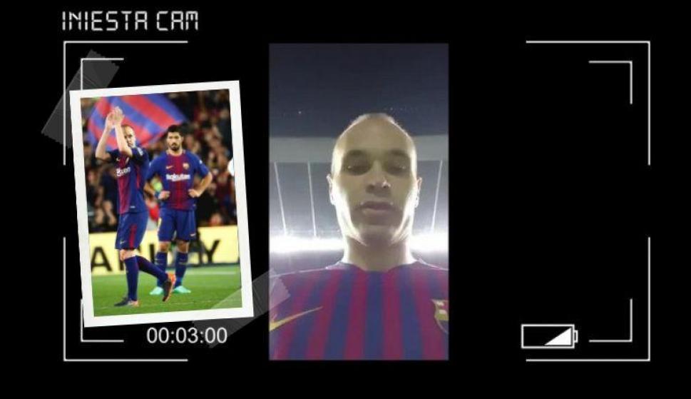 El emocionante video que se grabó Iniesta cuando quedó solo en el Camp Nou. Fotos: Archivo El País y @AndresIniesta8