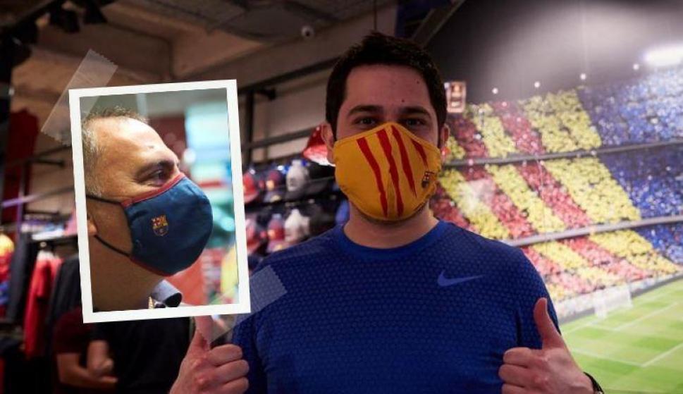 El Barcelona pone a la venta sus propios tapabocas. Fotos: EFE