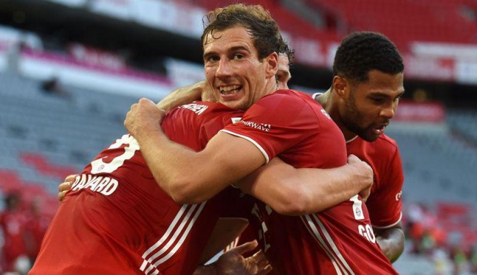 Leon Goretzka hizo festejar a todo el Bayern Munich tras el gol sobre el final. Foto: AFP.