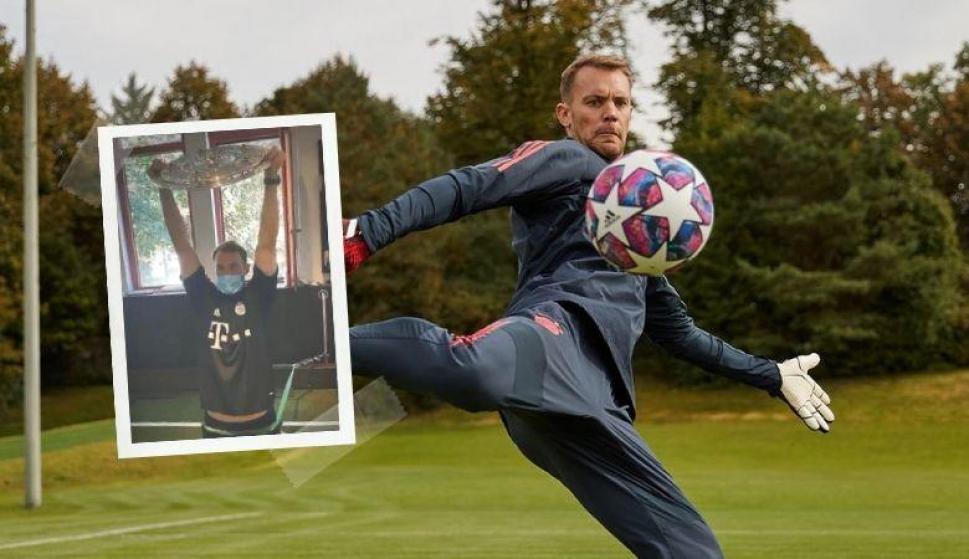 Manuel Neuer se quedó sin pesas y mirá con qué tuvo que entrenar. Fotos: @Manuel_Neuer