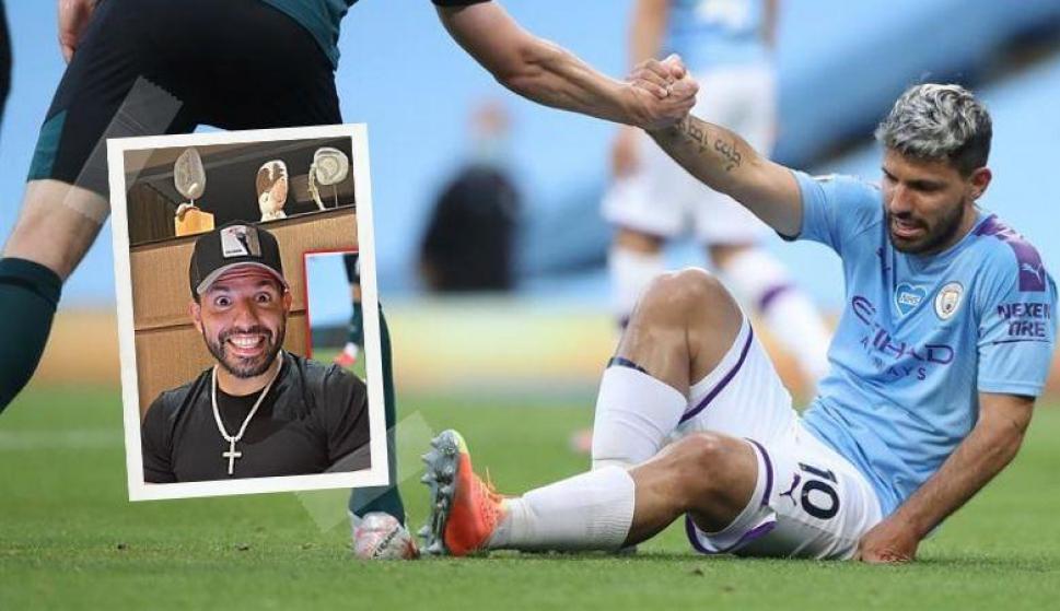 En un imperdible vivo, el Kun Agüero contó los detalles de su lesión y la operación. Foto: Sergio Agüero (Youtube) y EFE