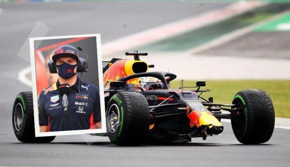 El insólito choque de Max Verstappen antes de largar y el tremendo trabajo de mecánicos. Fotos: EFE