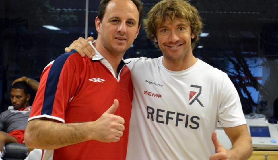 Diego Lugano y Rogerio Ceni. Foto: @DiegoLuganoorg