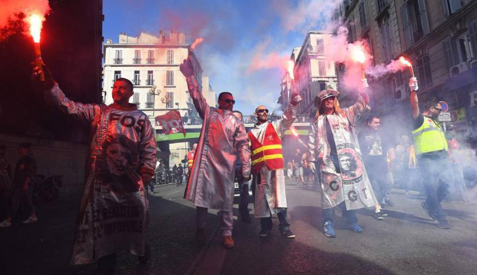 "Macron llamó ""holgazanes"" a los manifestantes. Foto: AFP."