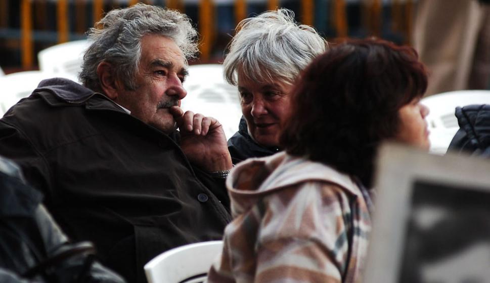 Topolansky y Mujica en acto del 1 de mayo. Foto: Archivo El País