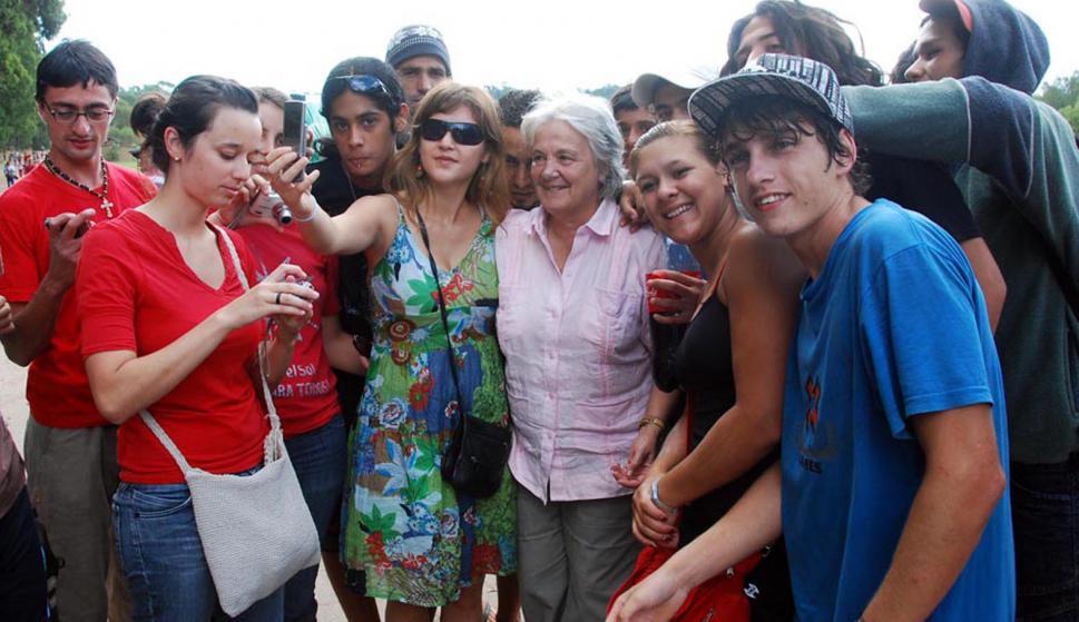 Topolansky en camping en Punta Ballena del MPP. Foto: Archivo El País