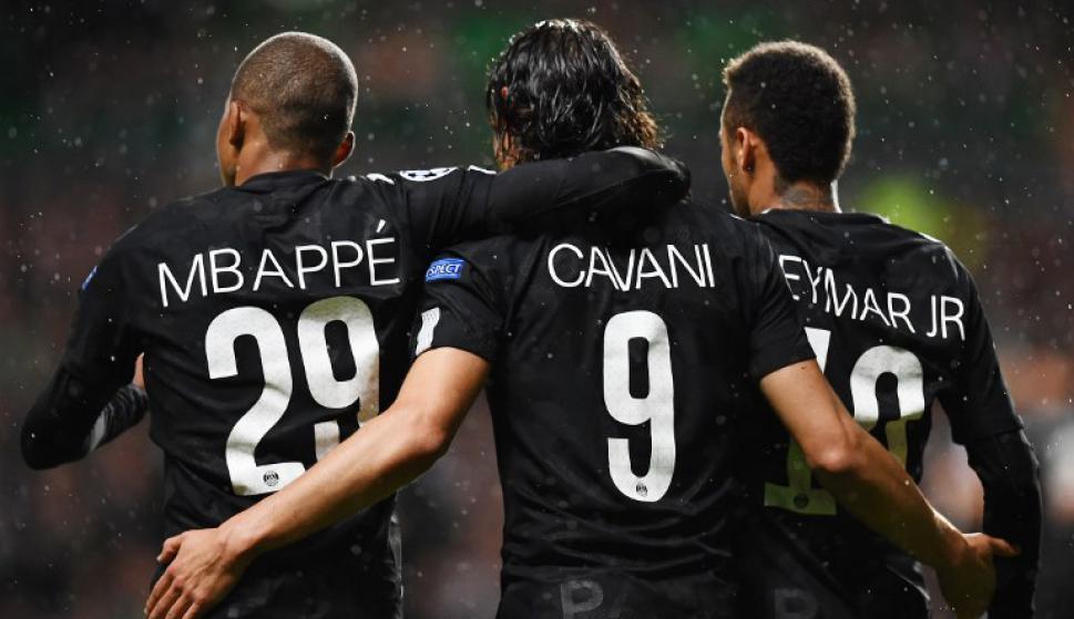 Cavani, Mbappé y Neymar: la ofensiva del PSG que mete miedo. Foto: AFP