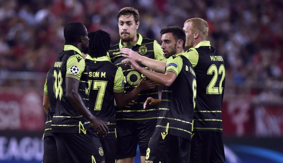El festejo de Sebastián Coates y el resto de los jugadores del Sporting de Lisboa. Foto: AFP