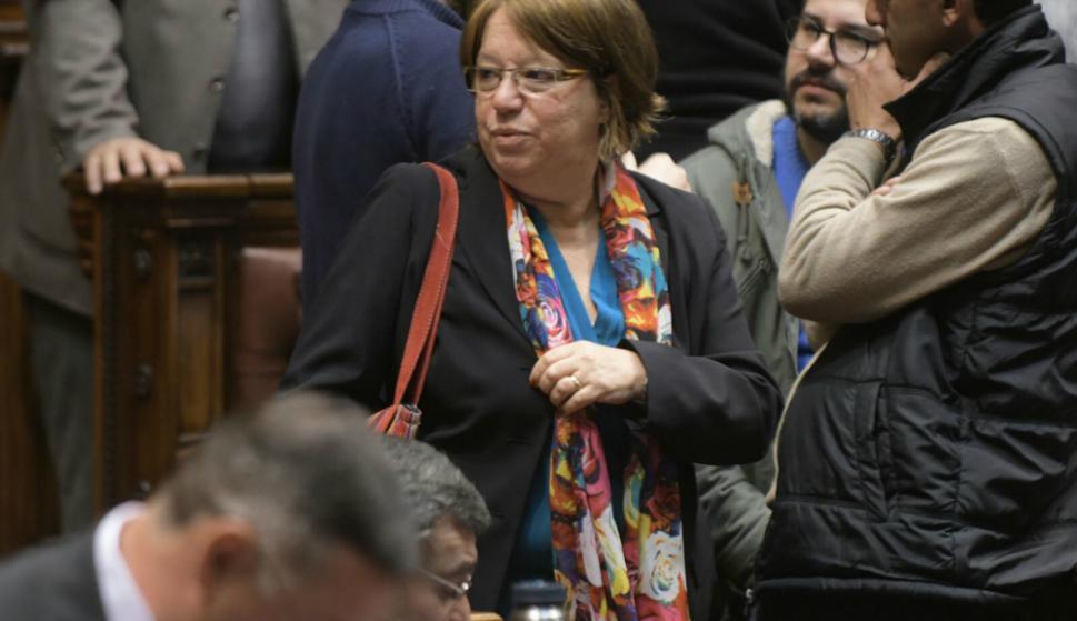 Mónica Xavier arriba a la Asamblea General. Foto: Francisco Flores.