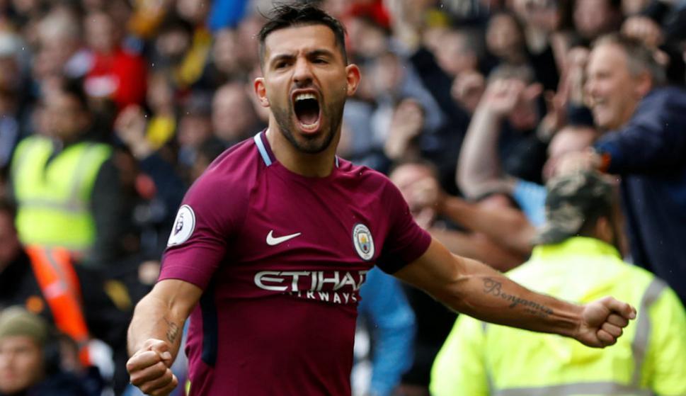 Sergio Agüero festeja el gol de visitante del Manchester City. Foto: Reuters