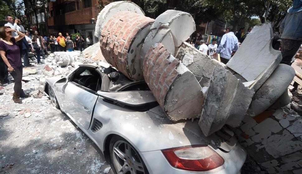 Daños y destrozos por el terremoto en Ciudad de México. Foto: AFP