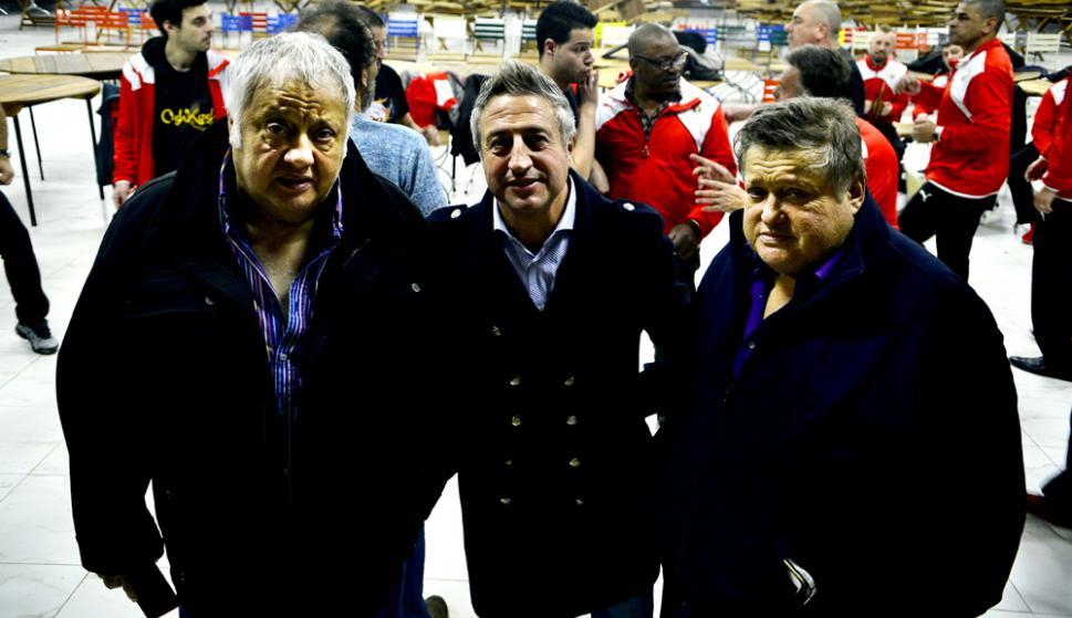 Enrique Espert y los directores de Los Saltimbanquis, Nelson Ferro y Eddie Espert. Foto: G. Pérez