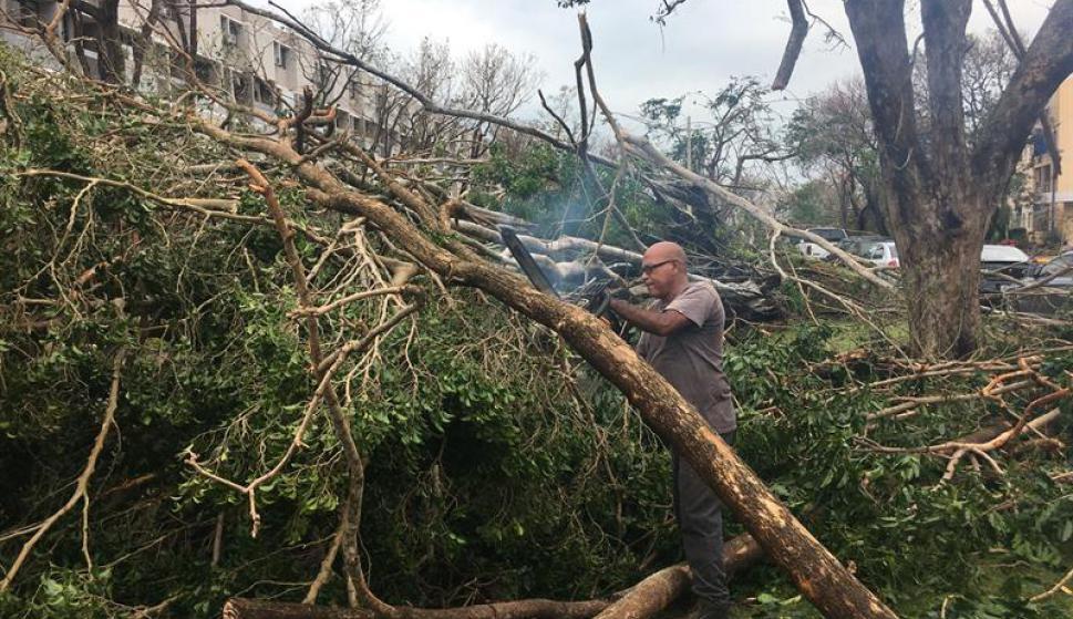 Puerto Rico estaba el jueves incomunicado, sin energía, con casas destrozadas y rutas obstruidas por árboles. Foto: EFE