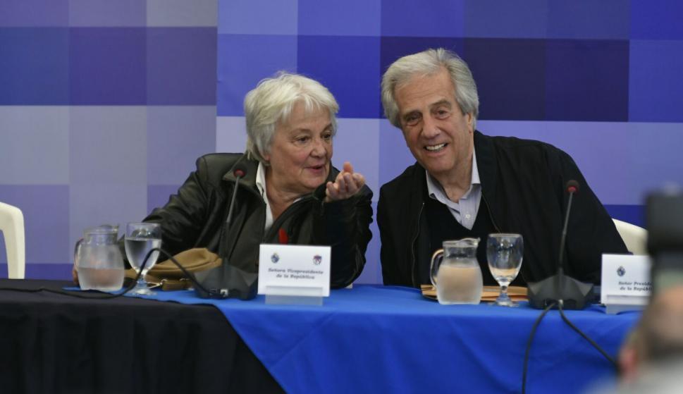 Topolansky y Vázquez en el Consejo de Ministros. Foto: Fernando Ponzetto