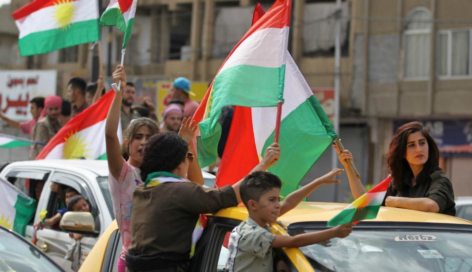 Kurdos de varios países celebran la realización del referéndum. Foto: AFP.