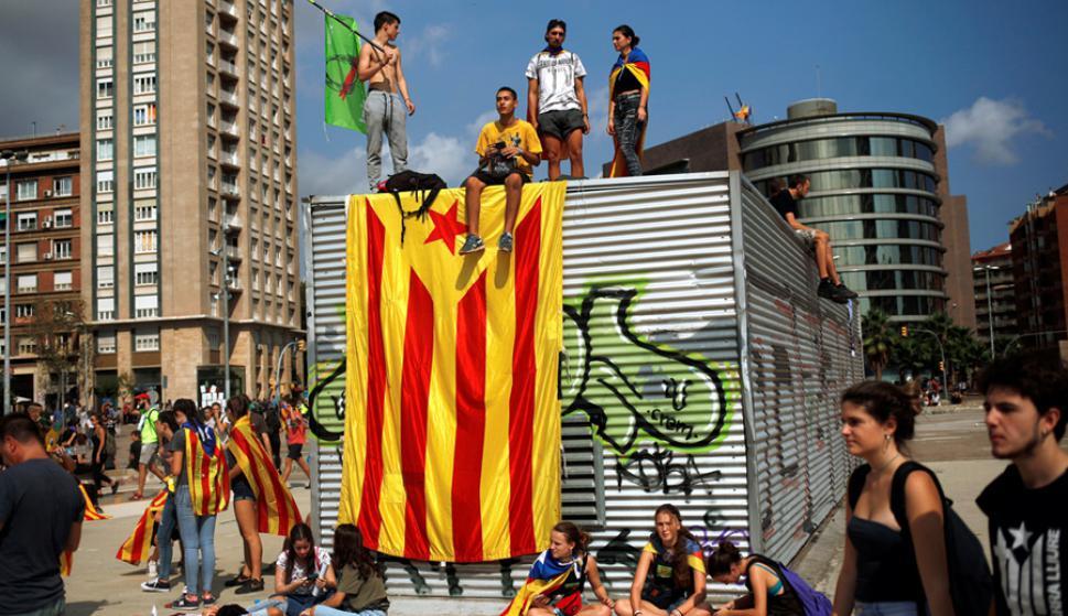 Expresión: estudiantes en Barcelona copan las calles a favor del Si. Foto: Reuters