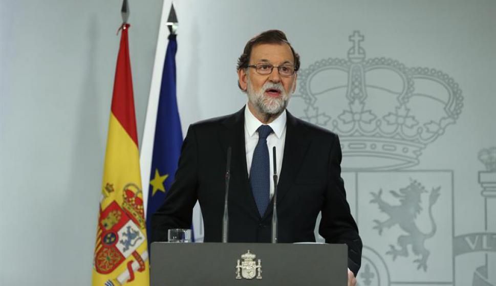 El presidente del Gobierno, Mariano Rajoy, durante la declaración institucional. Foto: EFE