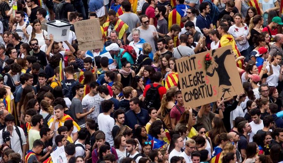 Manifestaciones en Cataluña tras los incidentes del domingo. Foto: EFE
