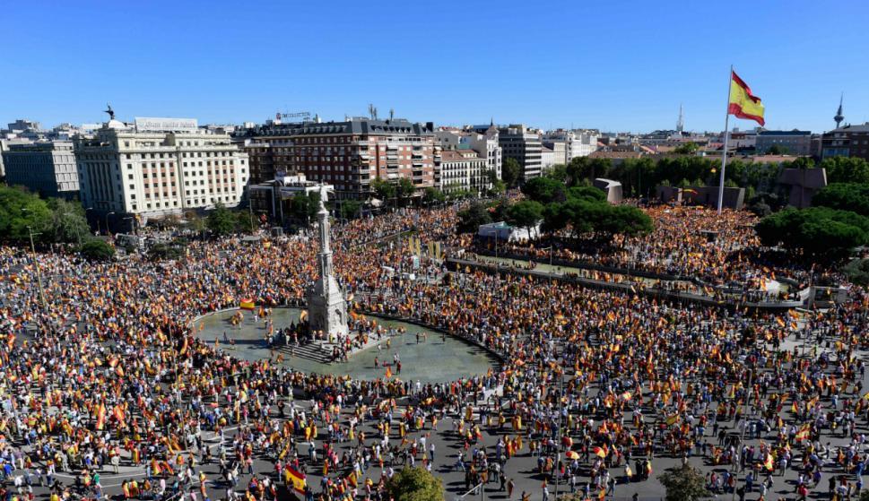 Manifestación nacionalista en Plaza Colón de Madrid. Foto: AFP.