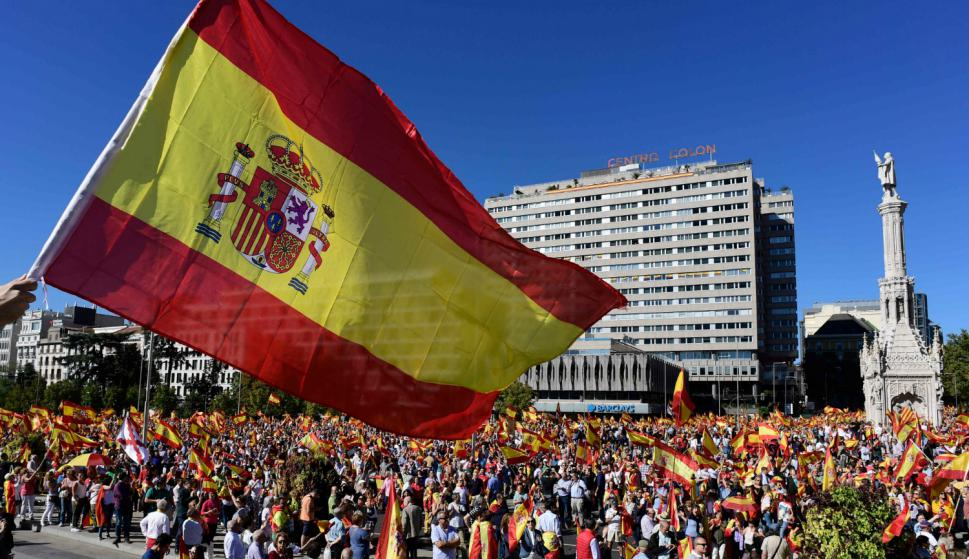 Manifestación nacionalista organizada por Denaes en Madrid. Foto: AFP.