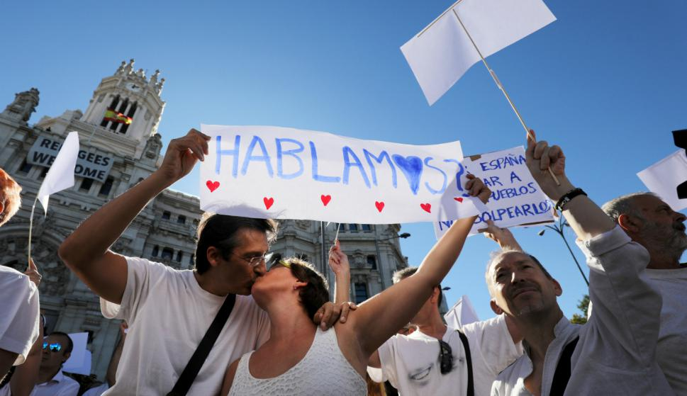 """Manifestación """"Hablemos"""" en Madrid. Foto: Reuters."""