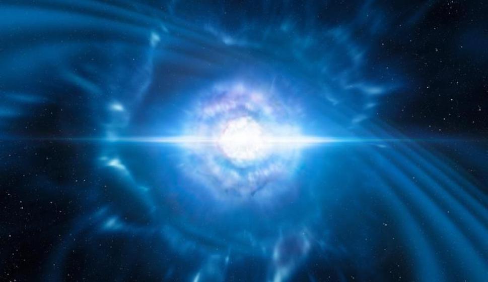 Explosión de kilonova, fenómeno originado por la colisión de dos estrellas de neutrones. Foto: EFE