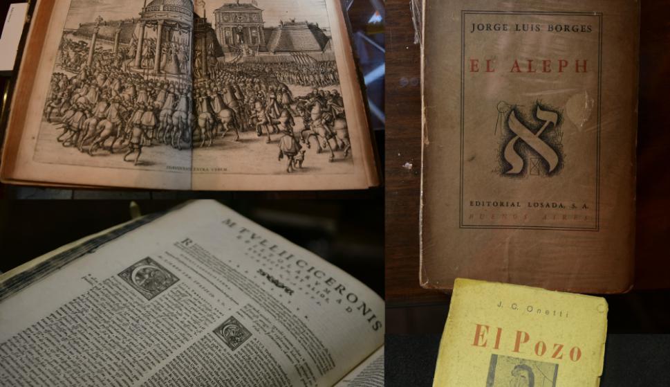 Primeras ediciones como la de El Pozo de Onetti o El Aleph de Borges.