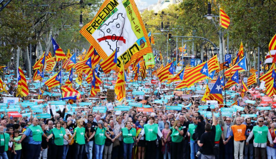 Manifestación en Barcelona a favor de la independencia. Foto: Reuters.